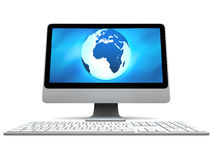 Blue Earth on computer screen Stock Photos