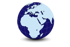 Blue Earth - Europe. Detailed 3d rendering of a globe focusing on Europe and Africa Stock Photo