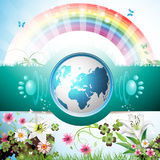 Blue Earth with flowers. Butterflies and rainbow royalty free illustration