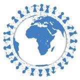 Blue Earth globe with children around it vector illustration