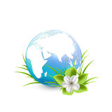 Blue Earth globe with flower. And grass  on white background, illustration Royalty Free Stock Photography