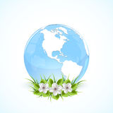 Blue earth globe with flowers. Blue globe with flowers and grass, illustration Royalty Free Stock Photos