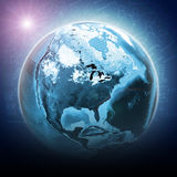 Blue earth globe glow with continents, transparent Royalty Free Stock Image