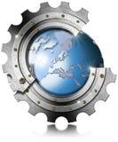 Blue Earth Globe inside Big Metal Gear Stock Image