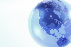 Blue earth globe made of glass. Digital illustration of transparent world globe Royalty Free Stock Images