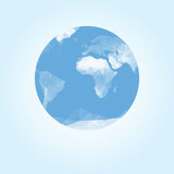 Blue earth globe made with triangles Stock Images