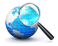 Blue Earth globe and magnifying glass. Creative abstract global computer web search communication PC technology internet business concept: blue Earth globe with Stock Images