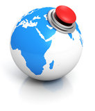 Blue earth globe with red button Royalty Free Stock Photography