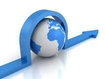 Blue Earth globe sphere with arrow. 3d Stock Image