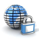 Blue Earth globe sphere with locked padlock. 3d Royalty Free Stock Images