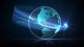 Blue earth graphic spinning with glowing light stock footage