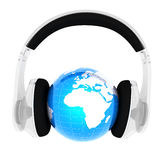 Blue earth with headphones from transparent plastic Royalty Free Stock Image