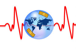 Blue earth injured with heartbeat Royalty Free Stock Photo