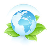 Blue earth on leaves. With droplets stock illustration