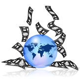 Blue earth with money Stock Photography
