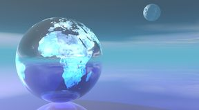 Blue earth and moon Stock Images