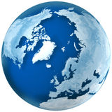 Blue Earth the North Pole. 3D rendering of blue earth with detailed land illustration.  the North Pole, Europe,  Asia, and North America view Royalty Free Stock Photography