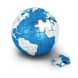 Blue earth of puzzle Stock Image