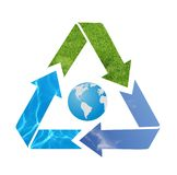 Blue Earth with recycle arrow symb Royalty Free Stock Images