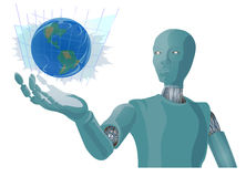 Blue Earth in Robot hand abstract illustration. Royalty Free Stock Photography