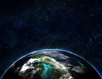 Blue earth in space Stock Photos
