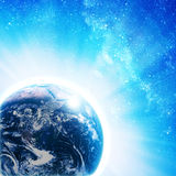 Blue earth in space Stock Photography