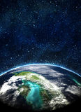 Blue earth in space Royalty Free Stock Image