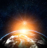 Blue earth in space Royalty Free Stock Photography