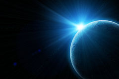 Blue earth in space Stock Photo