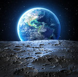 Blue Earth View From Moon Surface Stock Photography