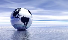 Blue earth on water. Chrome planet earth reflected on top of water stock illustration