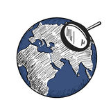 Blue earth with white continents world map and magnifying glass. Hand drawn illustration Stock Image