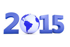 Blue earth in year 2015. Year 2015 with a blue earth as a zero Stock Photography