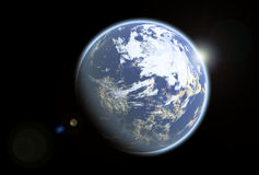 Blue earthlike alien planet Royalty Free Stock Photos