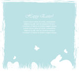 Blue Easter background with eggs and rabbit Royalty Free Stock Images
