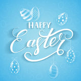 Blue Easter background with eggs. White lettering Happy Easter with decorative eggs on blue background, illustration Stock Images