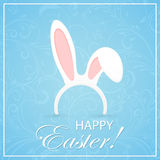 Blue Easter background with rabbit ears Stock Photography