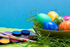 Blue easter background with watercolor Stock Images