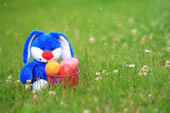 Blue Easter Bunny with Basket of Easter Eggs. Blue bunny sitting in the grass with a basket of colorful Easter eggs Stock Photo