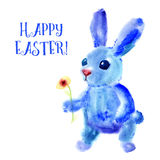 Blue Easter Bunny. Watercolor greeting card, print Stock Photos