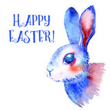 Blue Easter Bunny. Watercolor greeting card, print Stock Images