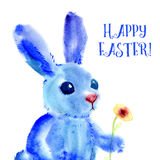 Blue Easter Bunny. Watercolor greeting card, print Royalty Free Stock Photo