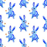 Blue Easter Bunny. Watercolor seamless pattern. Royalty Free Stock Photography