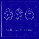 Blue Easter card with eggs Stock Image