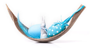 Blue easter decoration, palm leaf Stock Image