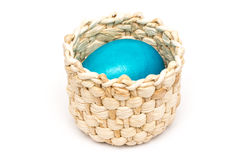Blue Easter Egg In Basket Stock Images