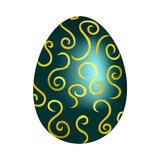 Blue easter egg with golden pattern. On a white background stock illustration