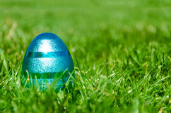 Blue Easter egg on the grass background Royalty Free Stock Photography
