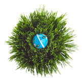 Blue Easter egg on green grass. Hand painted Easter egg arranged on a grass basket Royalty Free Stock Photography