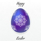 Blue Easter egg with mandala pattern Royalty Free Stock Images